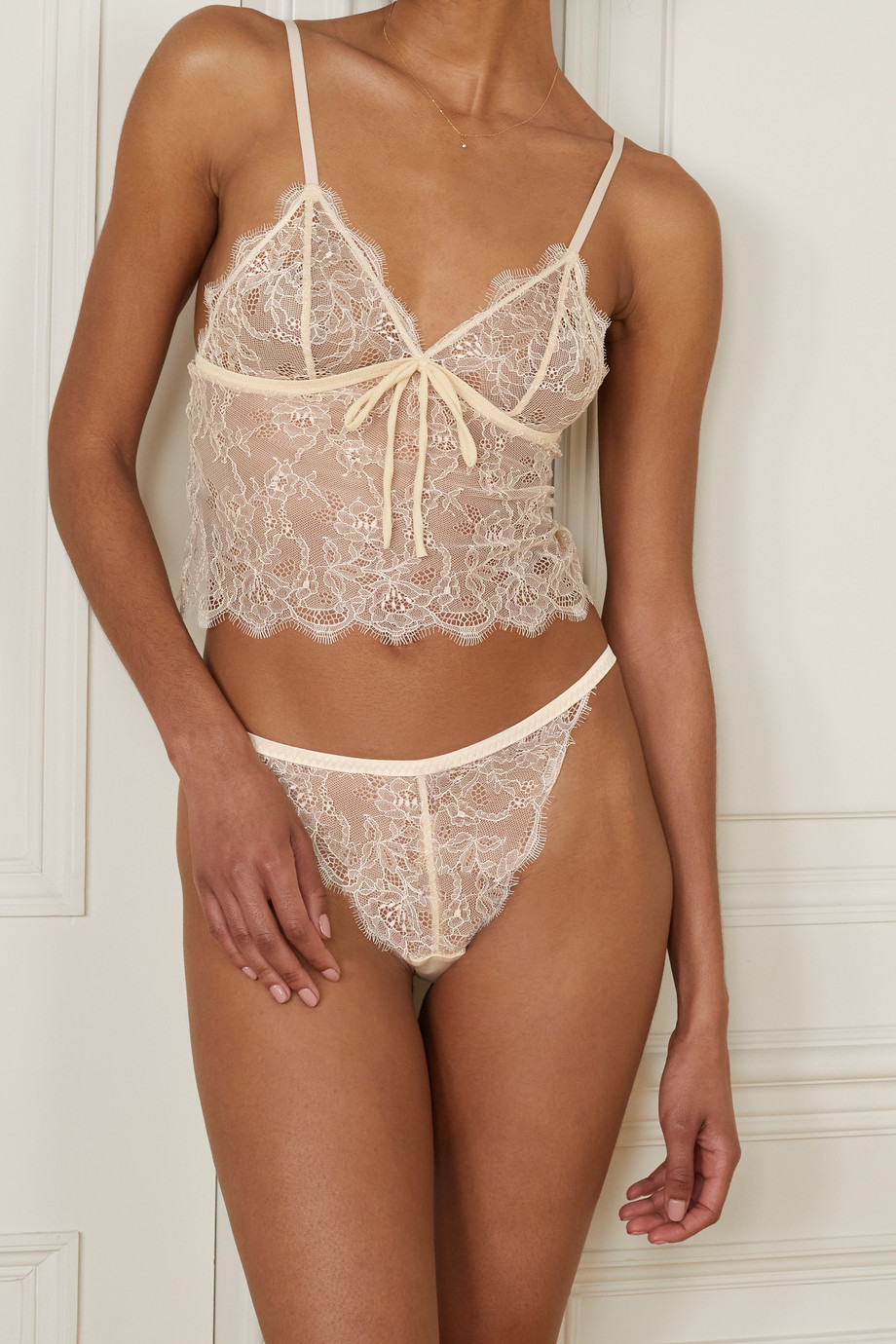 LOVE STORIES Linda satin-trimmed scalloped lace briefs