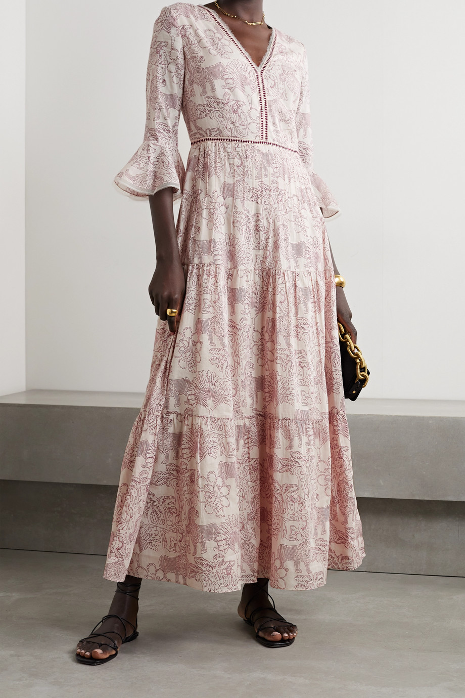 LE SIRENUSE POSITANO Bella tiered chiffon-trimmed printed cotton maxi dress