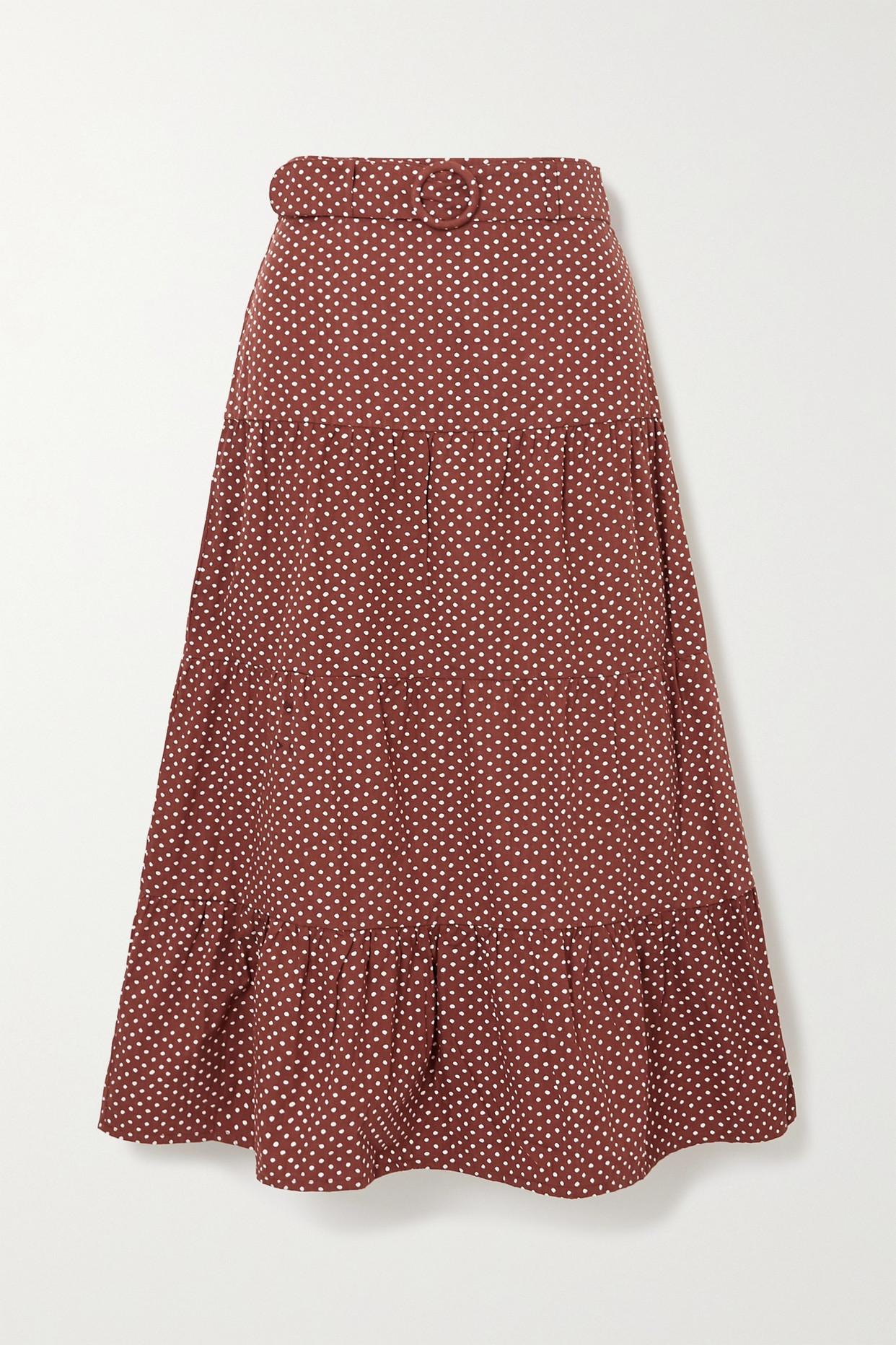 FAITHFULL THE BRAND - + Net Sustain Farida Cotton-poplin Midi Skirt - Brown - x small