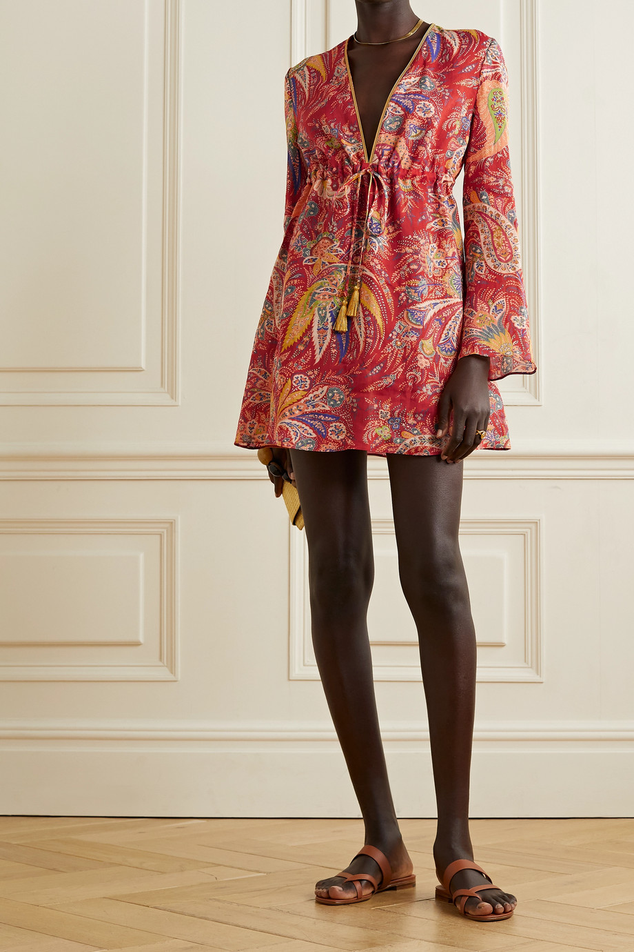 ETRO Itaca tasseled paisley-print ramie mini dress