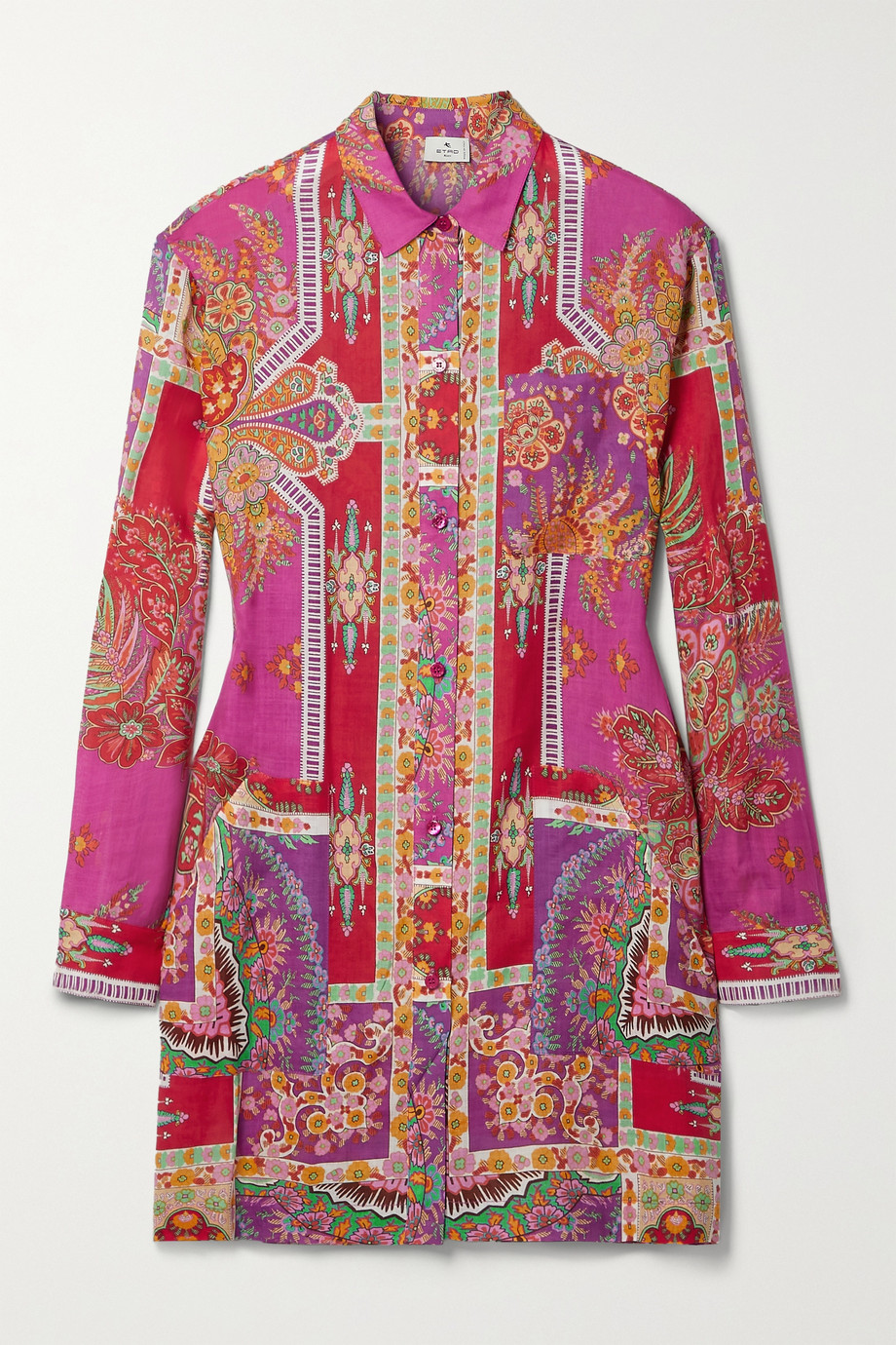 ETRO Sardegna printed ramie mini shirt dress