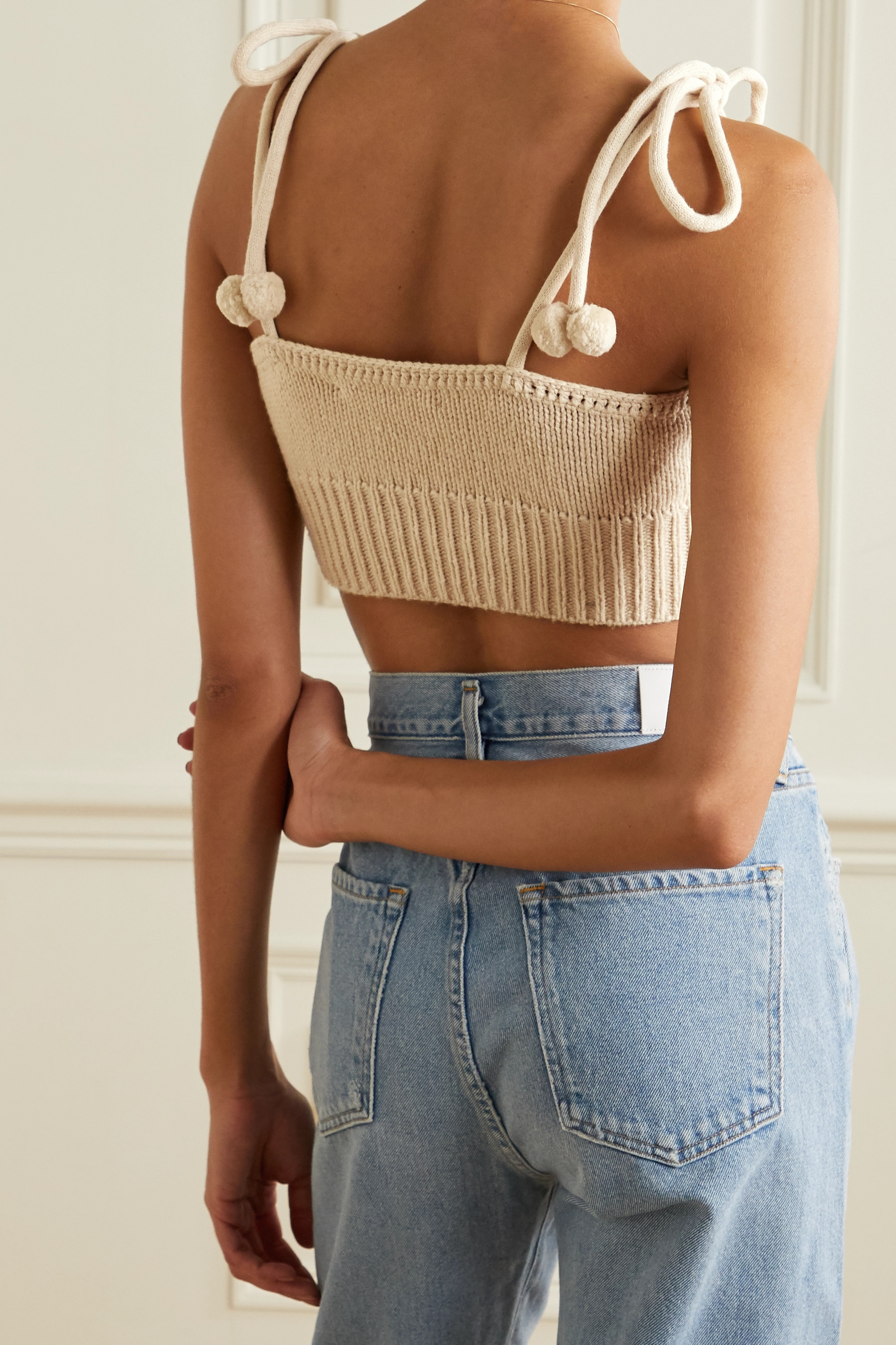 LOVESHACKFANCY Lago cropped embroidered knitted top