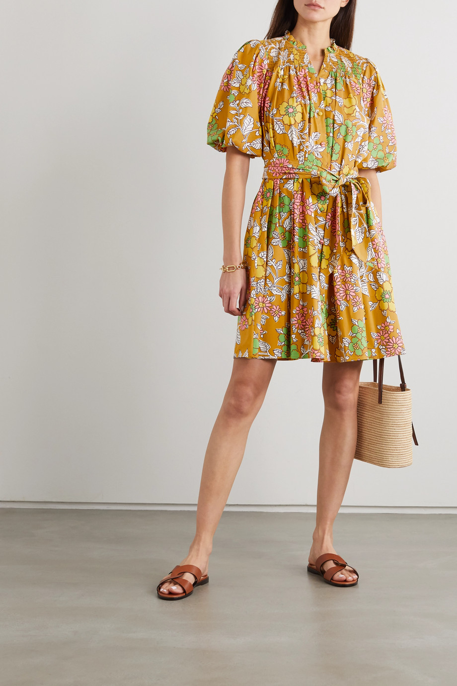 TORY BURCH Belted shirred floral-print cotton-blend mini dress