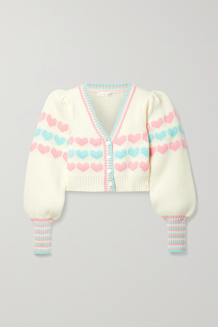 LOVESHACKFANCY Buena cropped intarsia cotton-blend cardigan