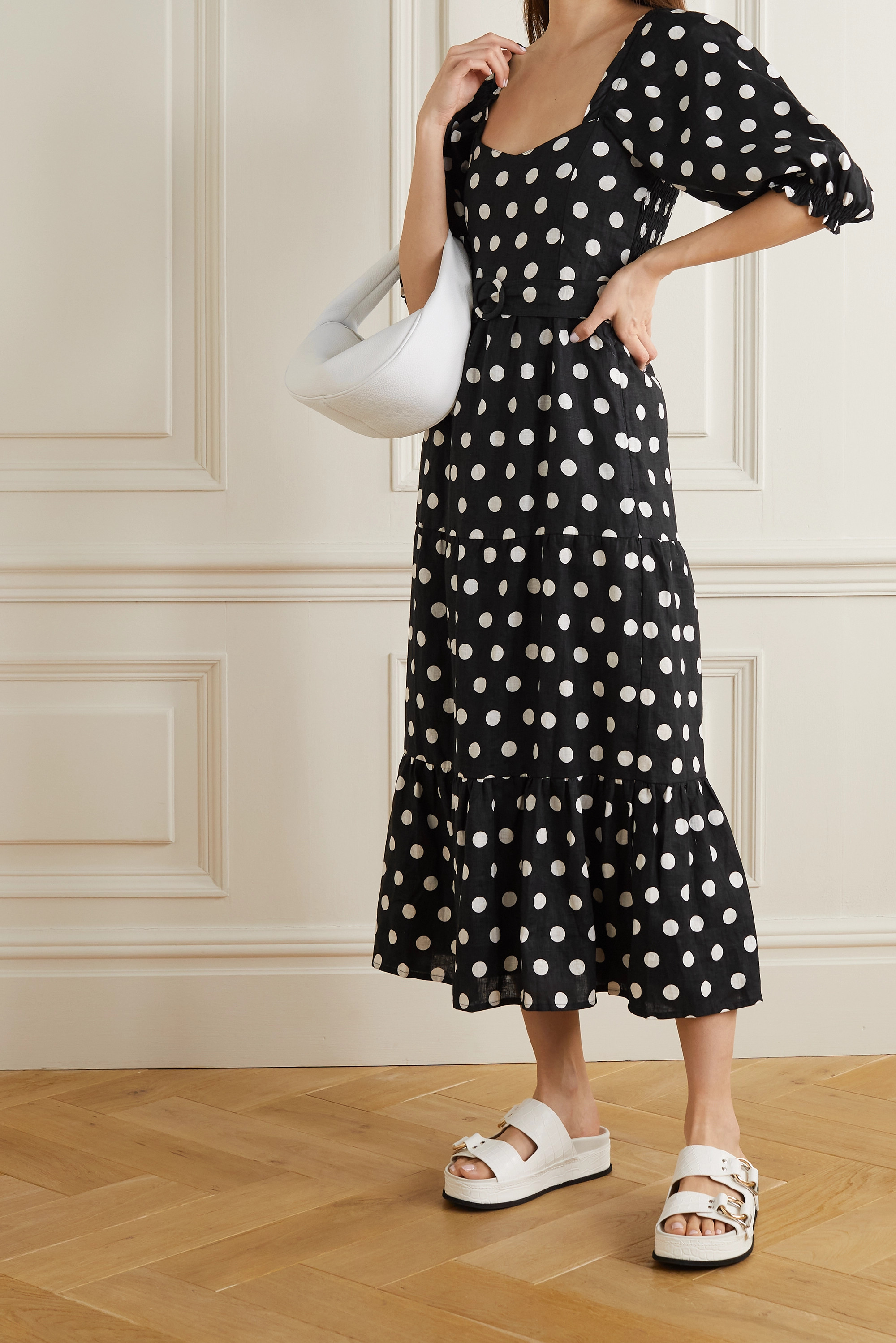 FAITHFULL THE BRAND + NET SUSTAIN Rumi belted tiered polka-dot linen midi dress