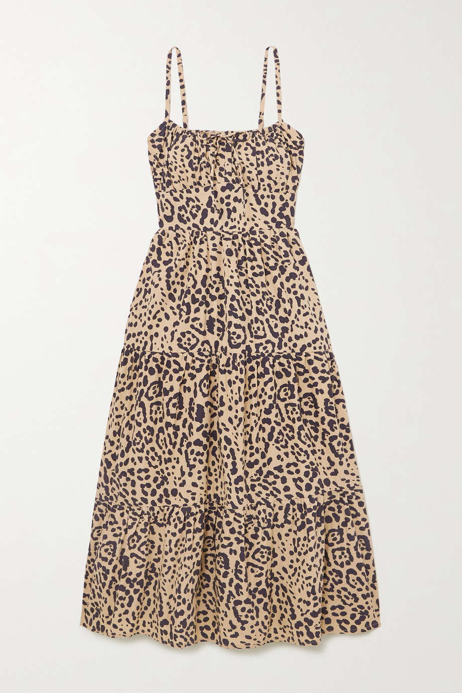 FAITHFULL THE BRAND + NET SUSTAIN Alexia leopard-print gathered cotton-poplin midi dress