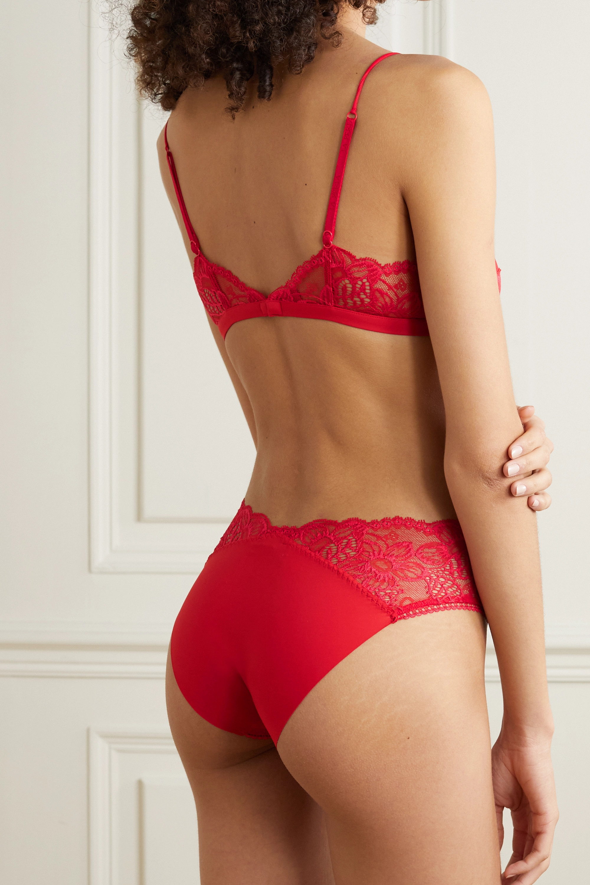 LA PERLA Layla stretch-jersey and Leavers lace briefs