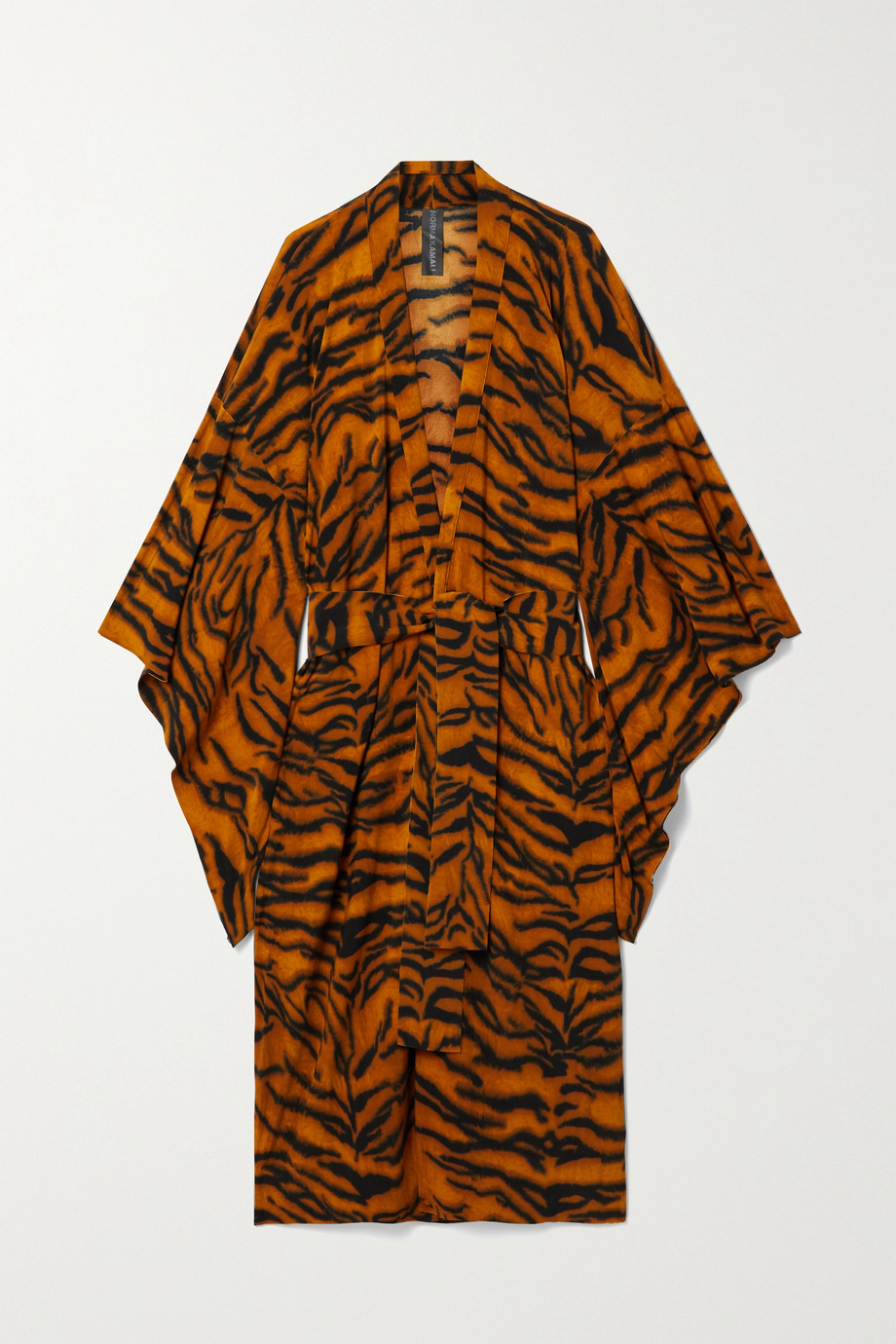NORMA KAMALI Belted tiger-print stretch-jersey robe