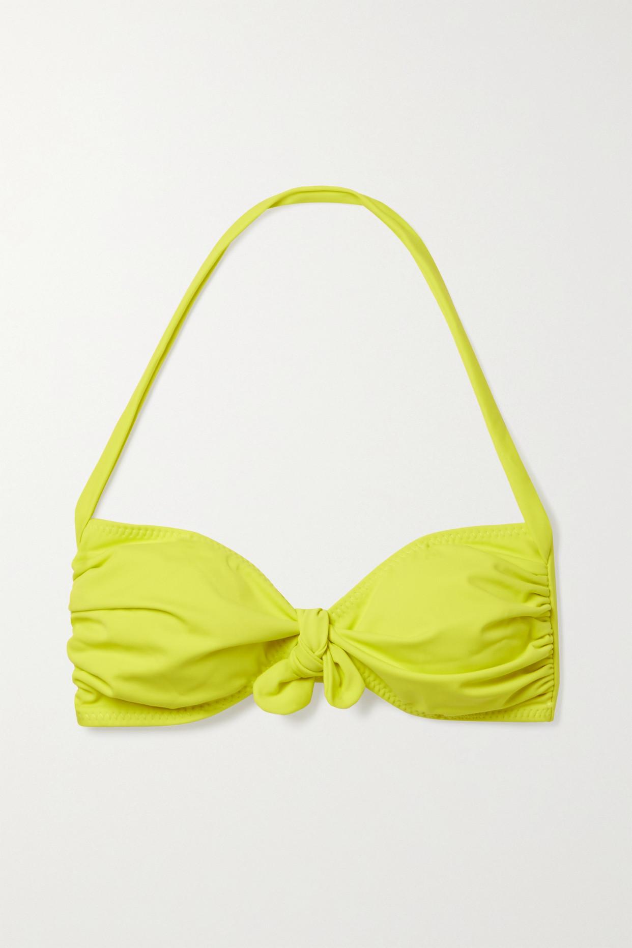 NORMA KAMALI - Tie-front Ruched Halterneck Bikini Top - Yellow - x small