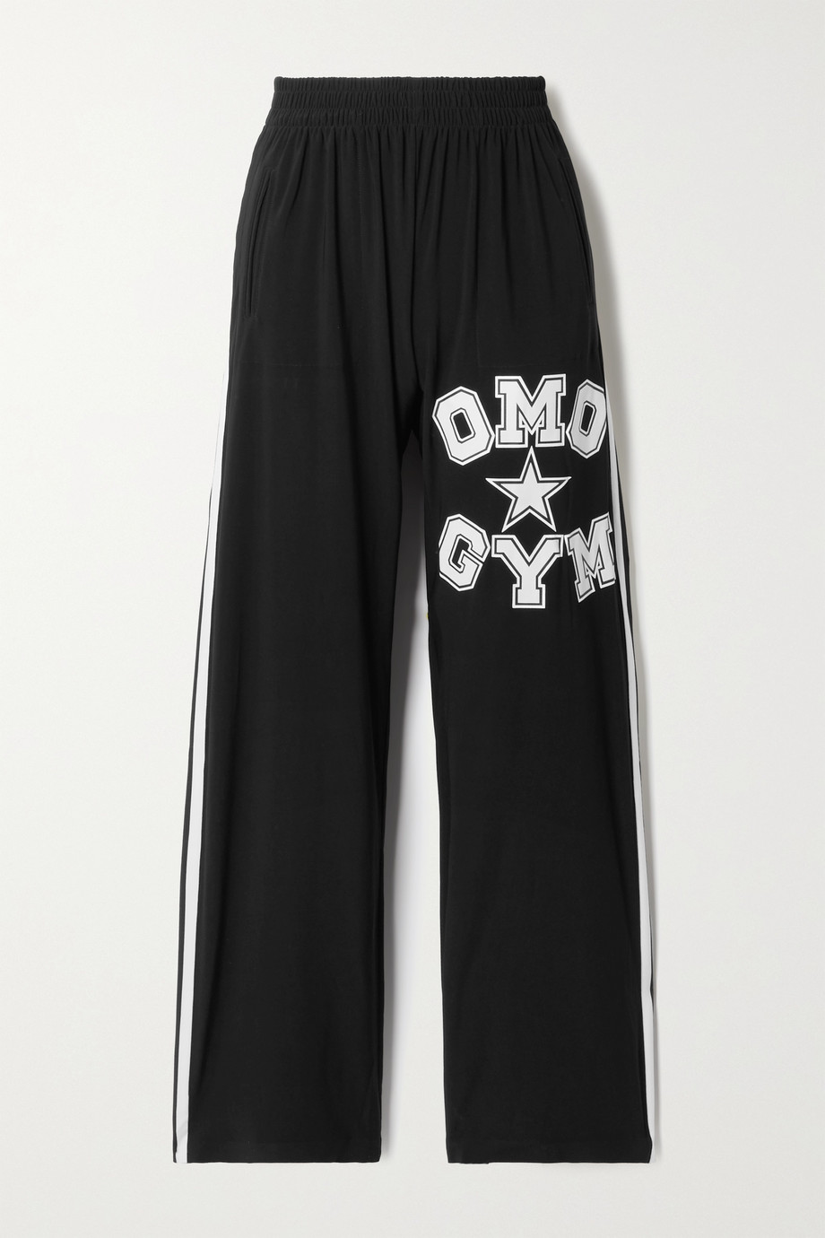 NORMA KAMALI OMO striped printed stretch-jersey track pants