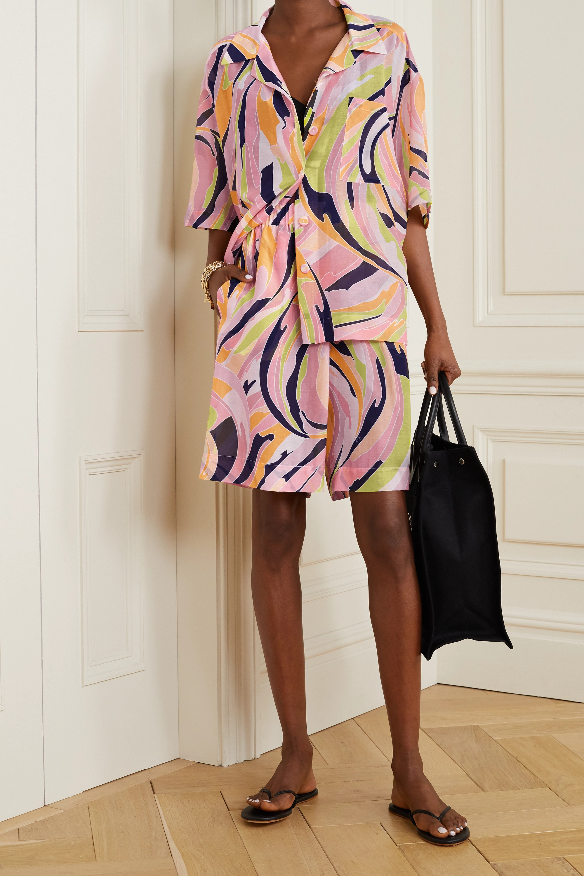 EMILIO PUCCI Printed cotton and silk-blend shorts