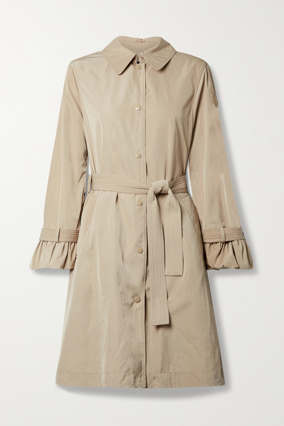 MONCLER Belted ruffled shell trench coat