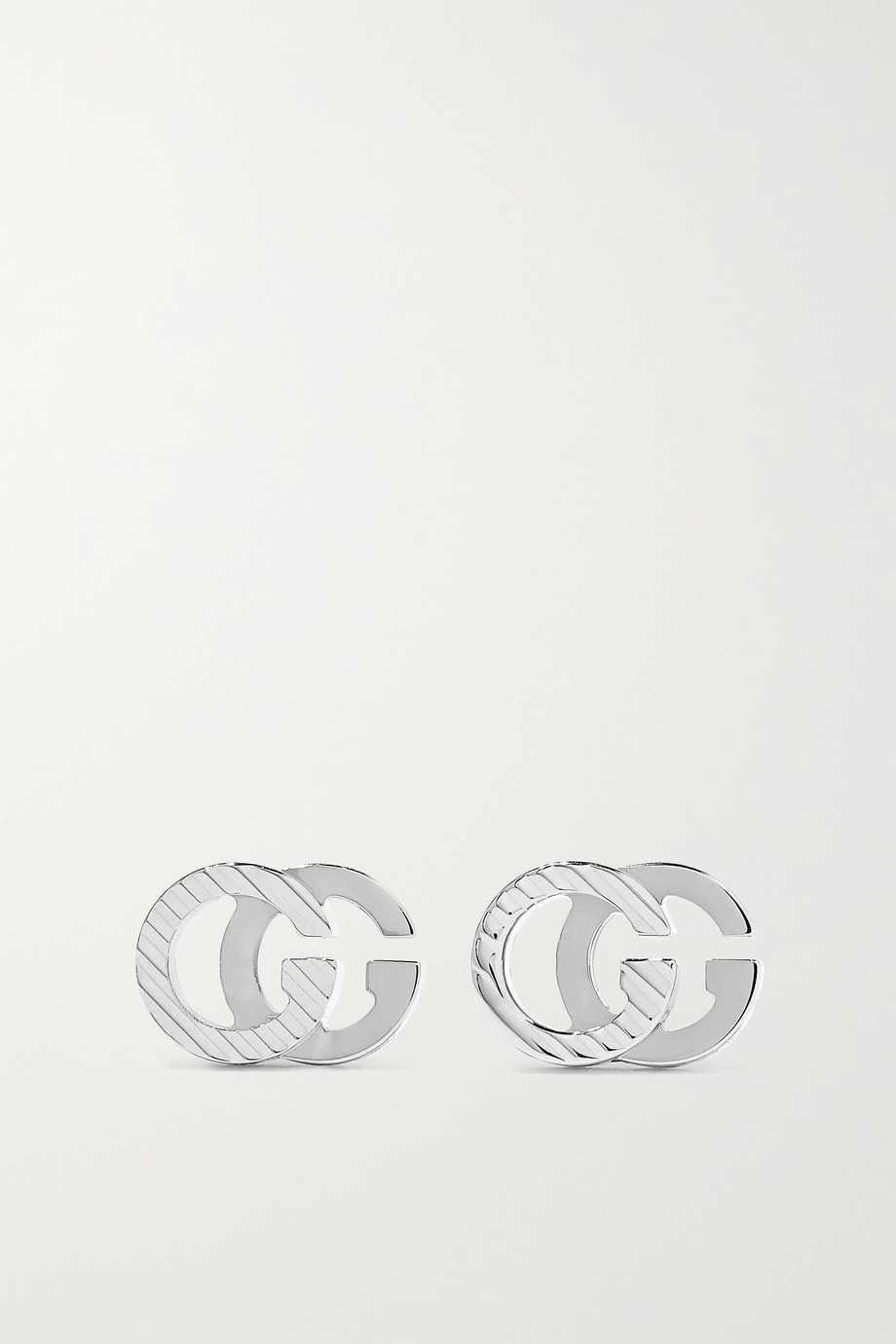 GUCCI GG Running 18-karat white gold earrings