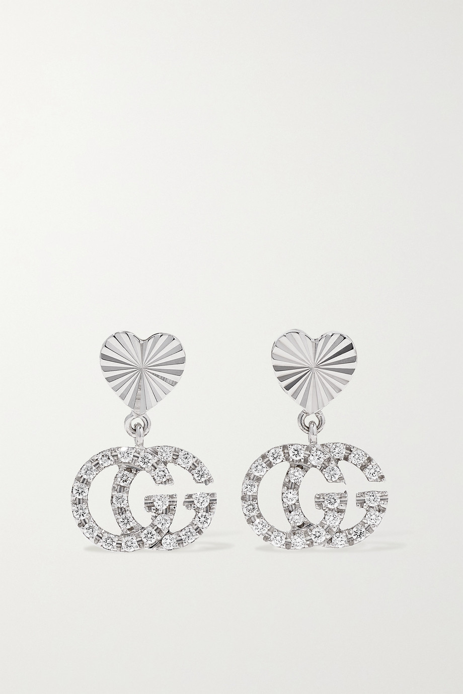 GUCCI GG Running 18-karat white gold diamond earrings