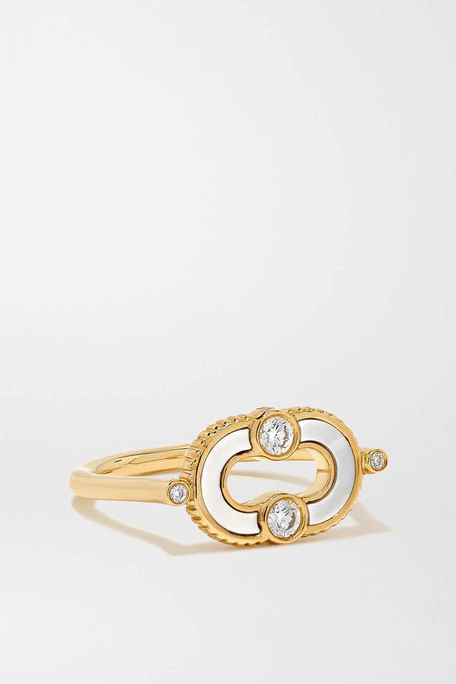 Viltier + NET SUSTAIN Magnetic Semi 18-karat gold, mother-of-pearl and diamond ring