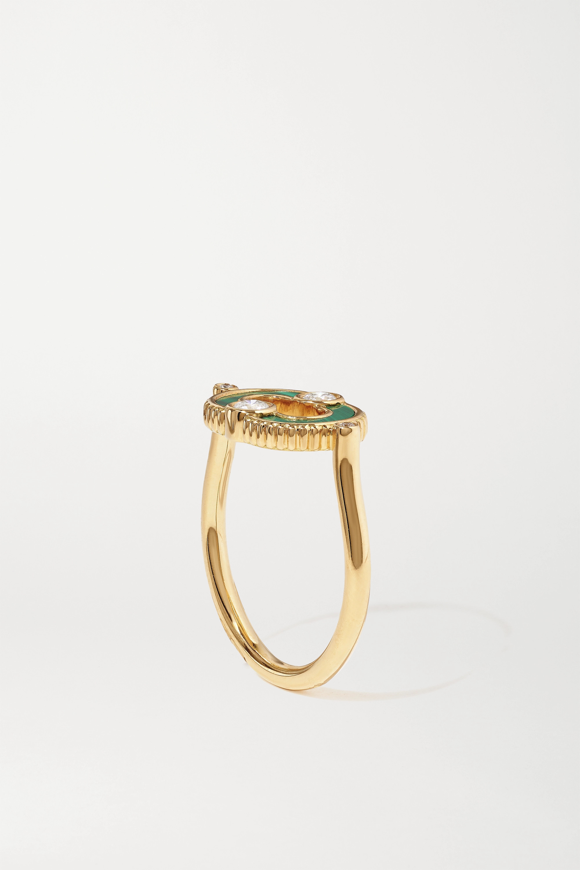 VILTIER + NET SUSTAIN Magnetic 18-karat gold, malachite and diamond ring