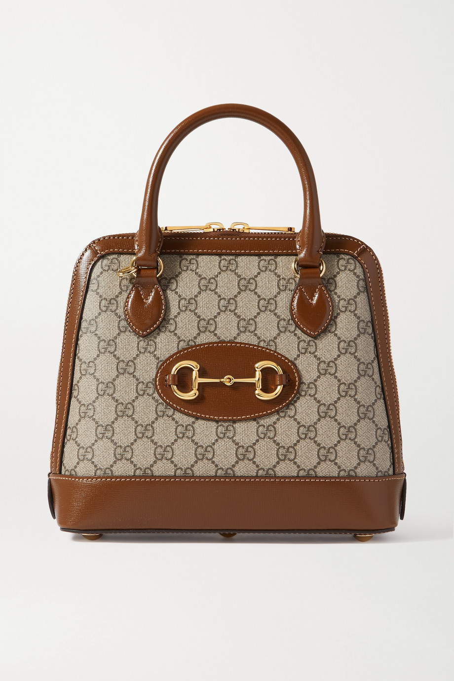 GUCCI 1955 horsebit-detailed leather-trimmed printed coated-canvas tote