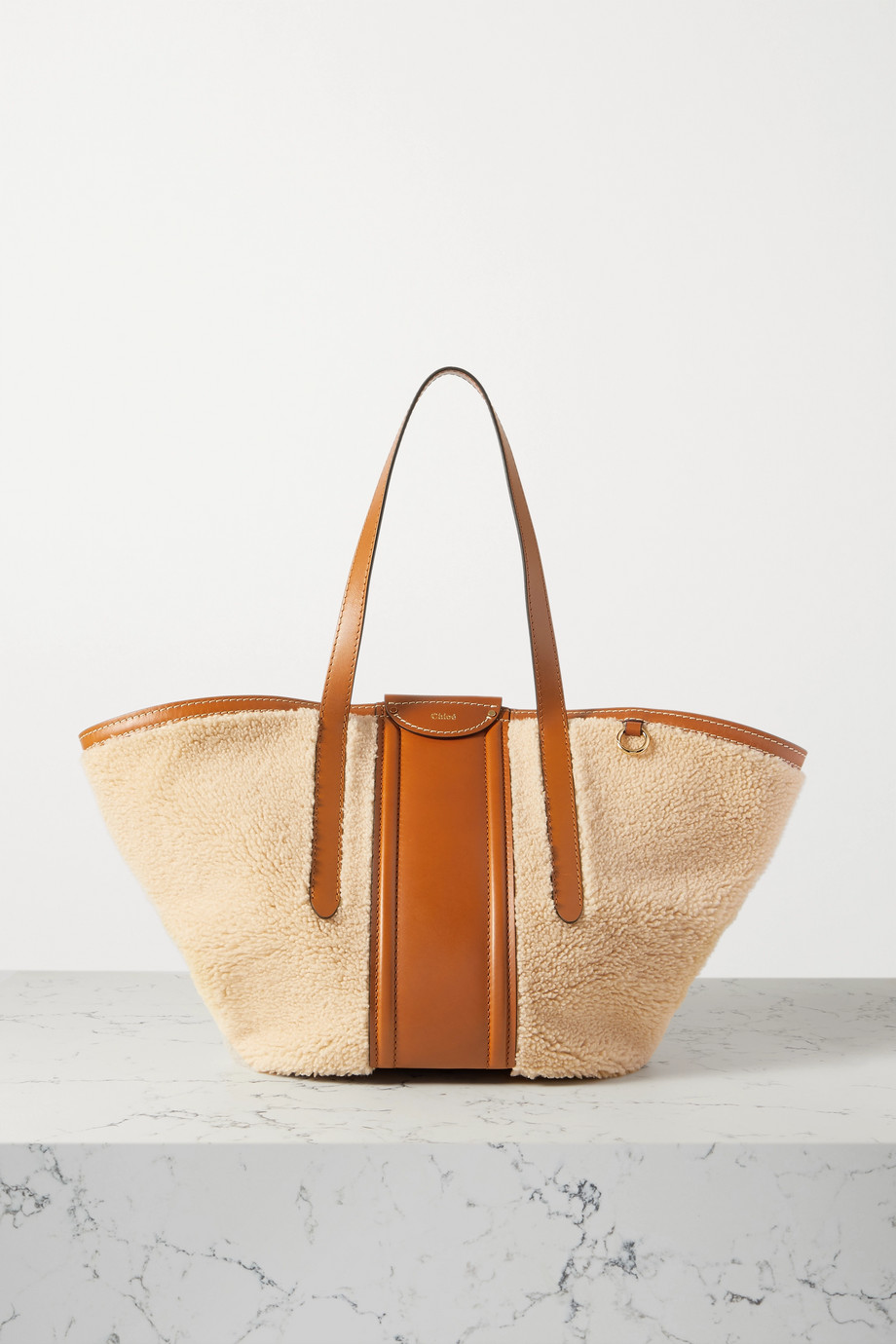 CHLOÉ Fredy medium leather-trimmed shearling tote