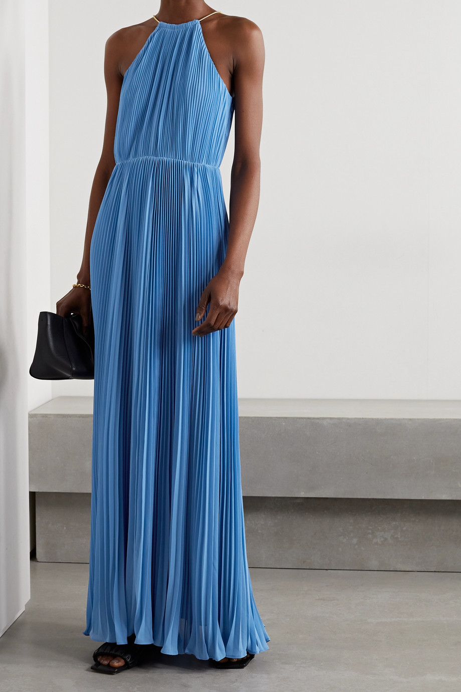 MICHAEL MICHAEL KORS Chain-embellished plissé-georgette halterneck maxi dress