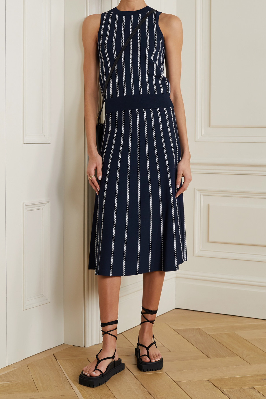 MICHAEL MICHAEL KORS Striped jacquard-knit midi skirt