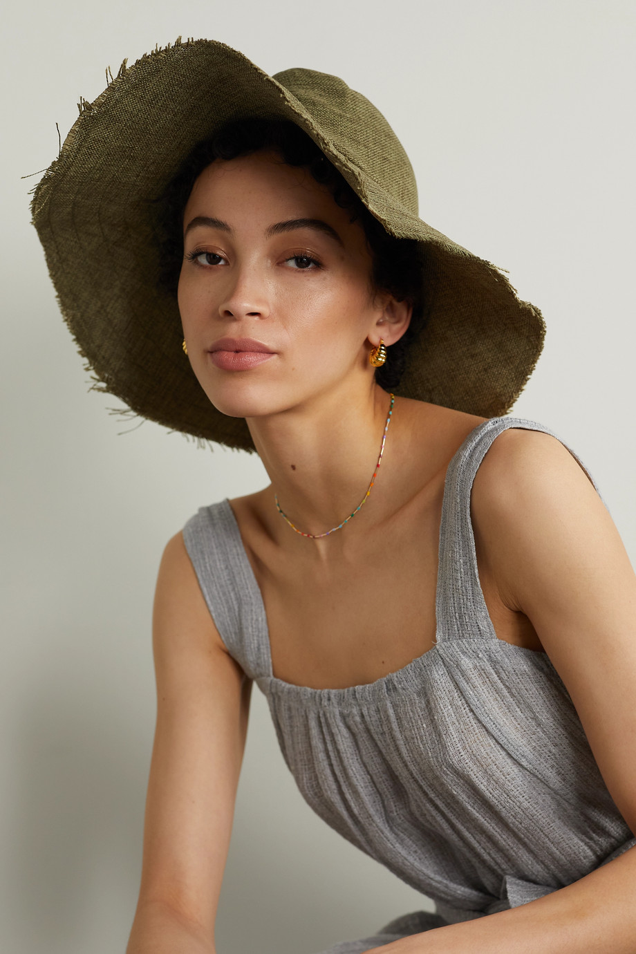 GIGI BURRIS + Space for Giants Trail frayed mélange linen sunhat