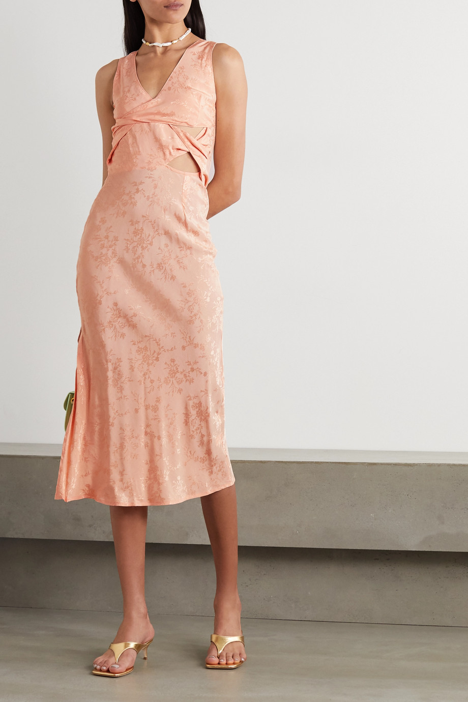 THE LINE BY K Moon twist-front cutout floral-jacquard midi dress