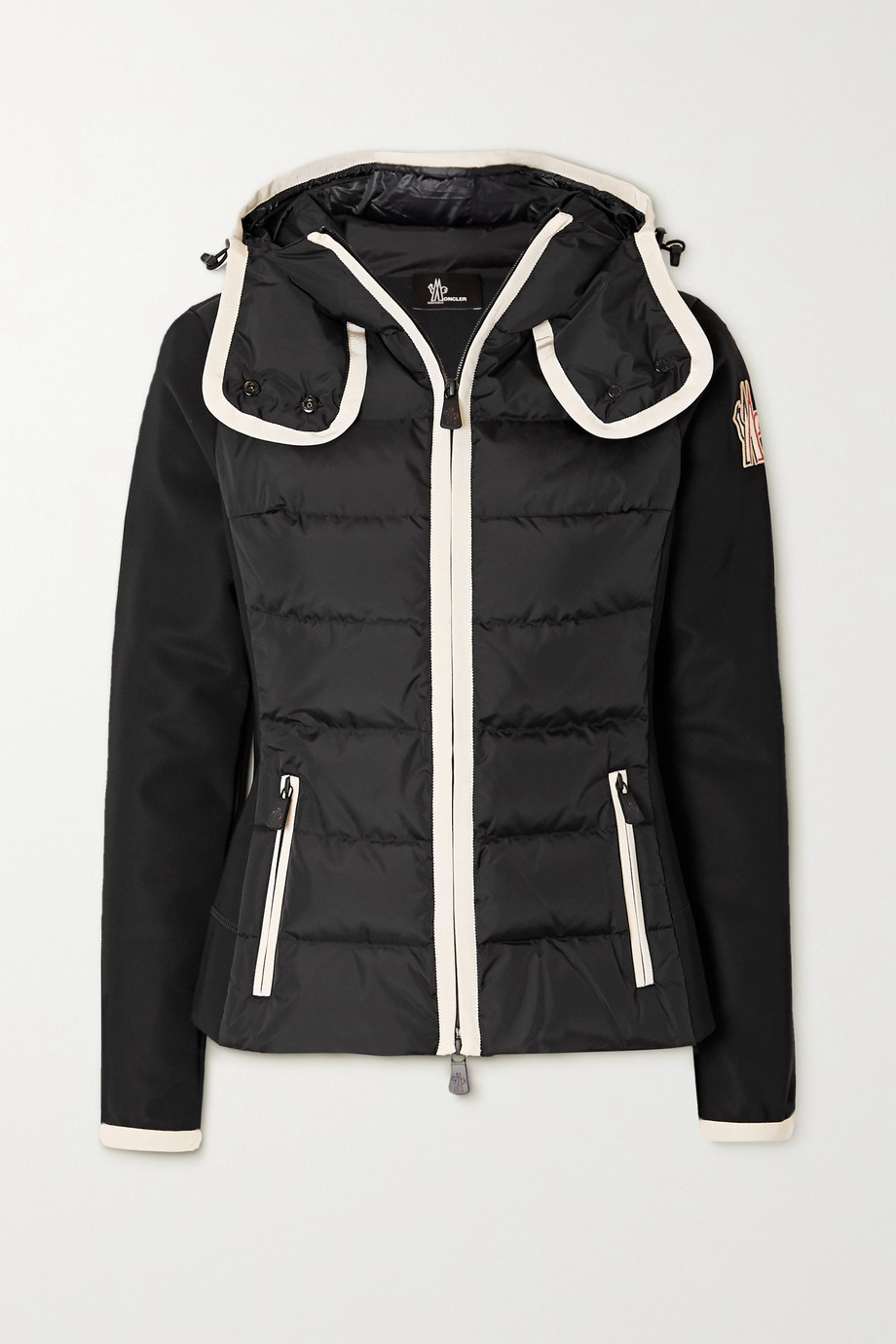 MONCLER GRENOBLE Hooded paneled quilted shell and neoprene jacket