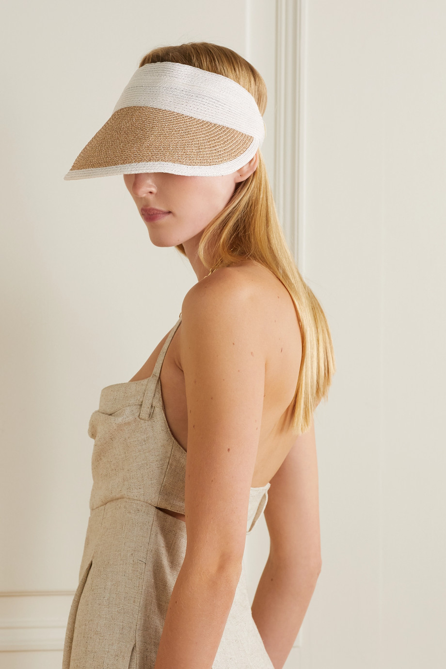 EUGENIA KIM Ricky grosgrain-trimmed two-tone straw visor