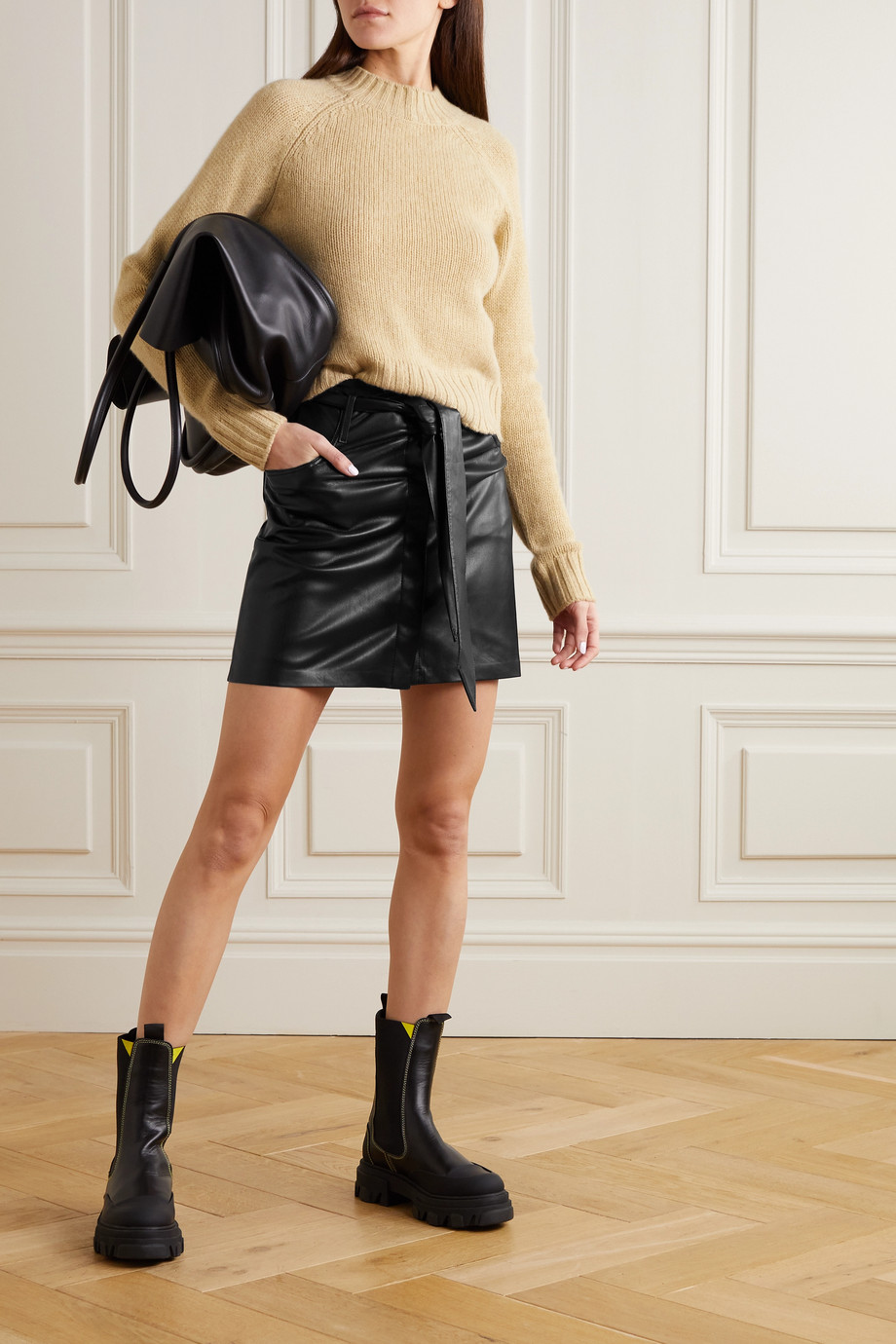 NANUSHKA Meda belted vegan leather mini skirt