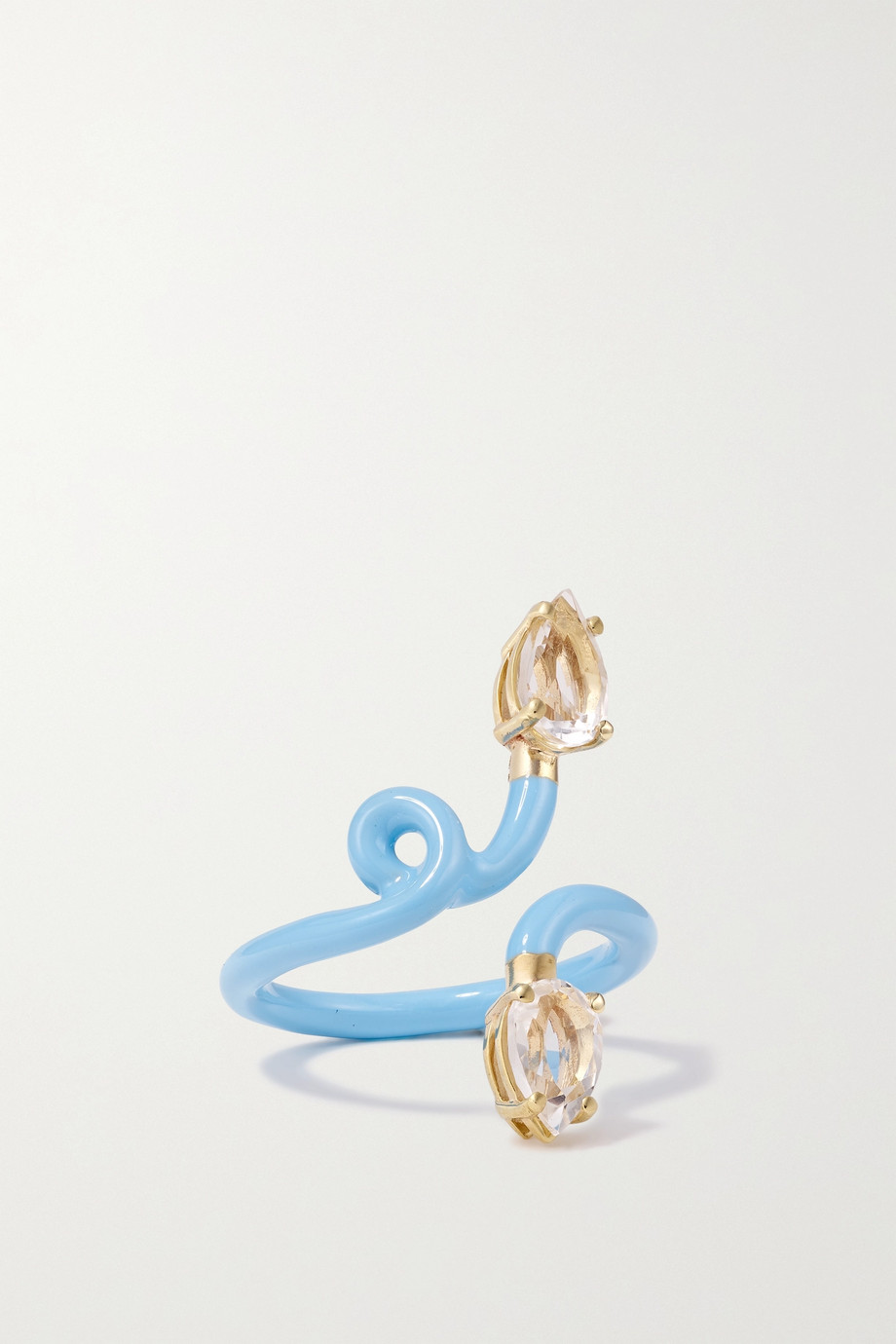 BEA BONGIASCA Vine Tendril 9-karat gold, enamel and rock crystal ring