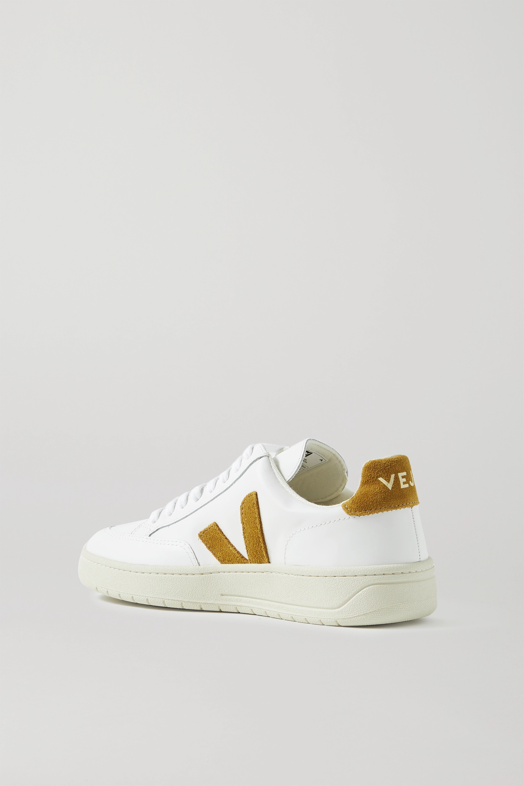 VEJA + NET SUSTAIN V-12 suede-trimmed leather sneakers