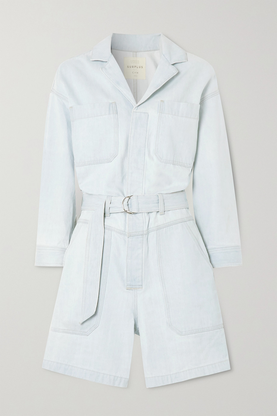 CITIZENS OF HUMANITY + Space For Giants Lucia belted organic denim playsuit