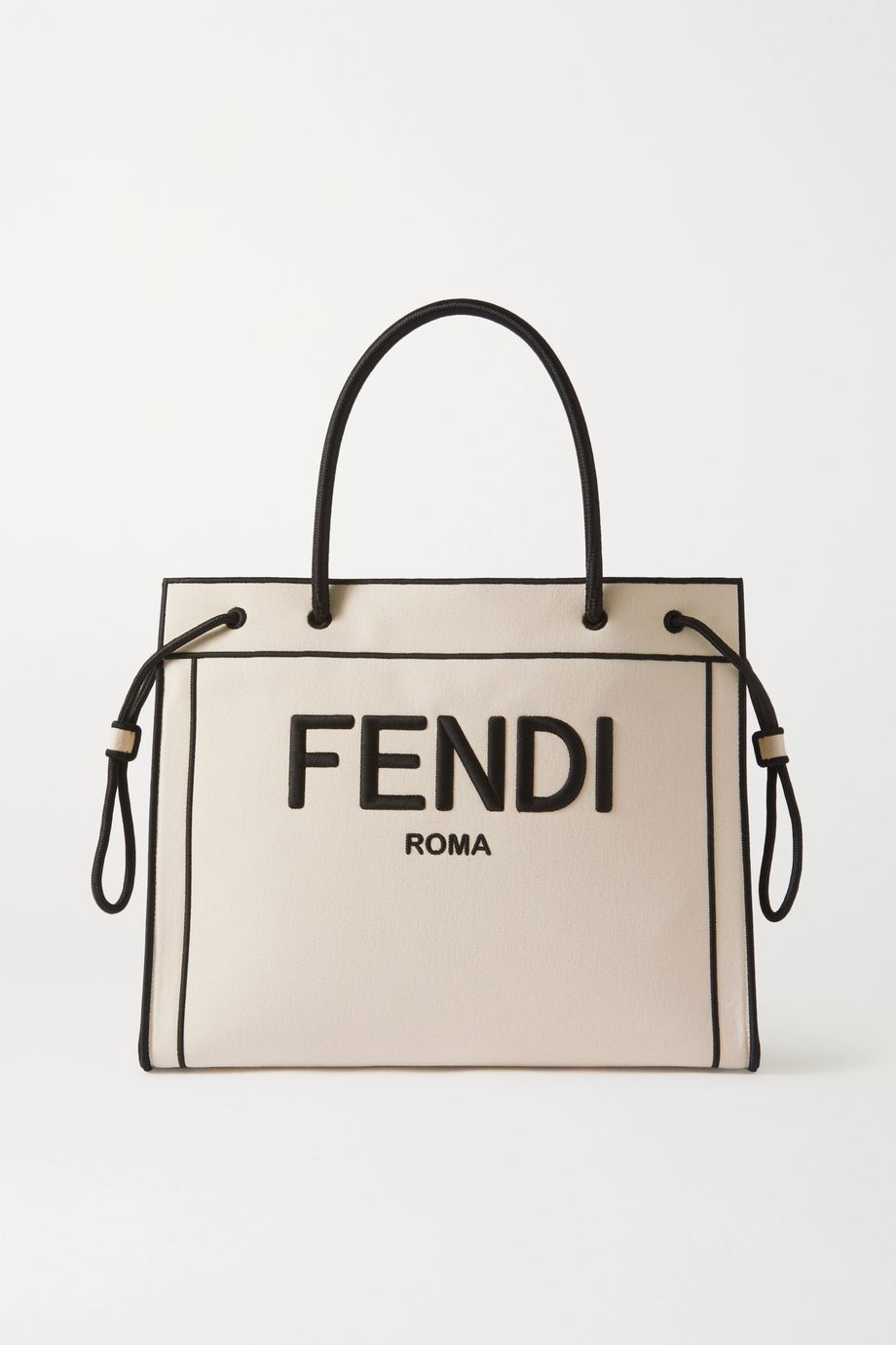 FENDI Large embroidered canvas tote