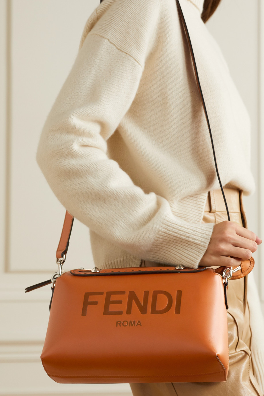 Fendi By The Way logo-debossed leather shoulder bag