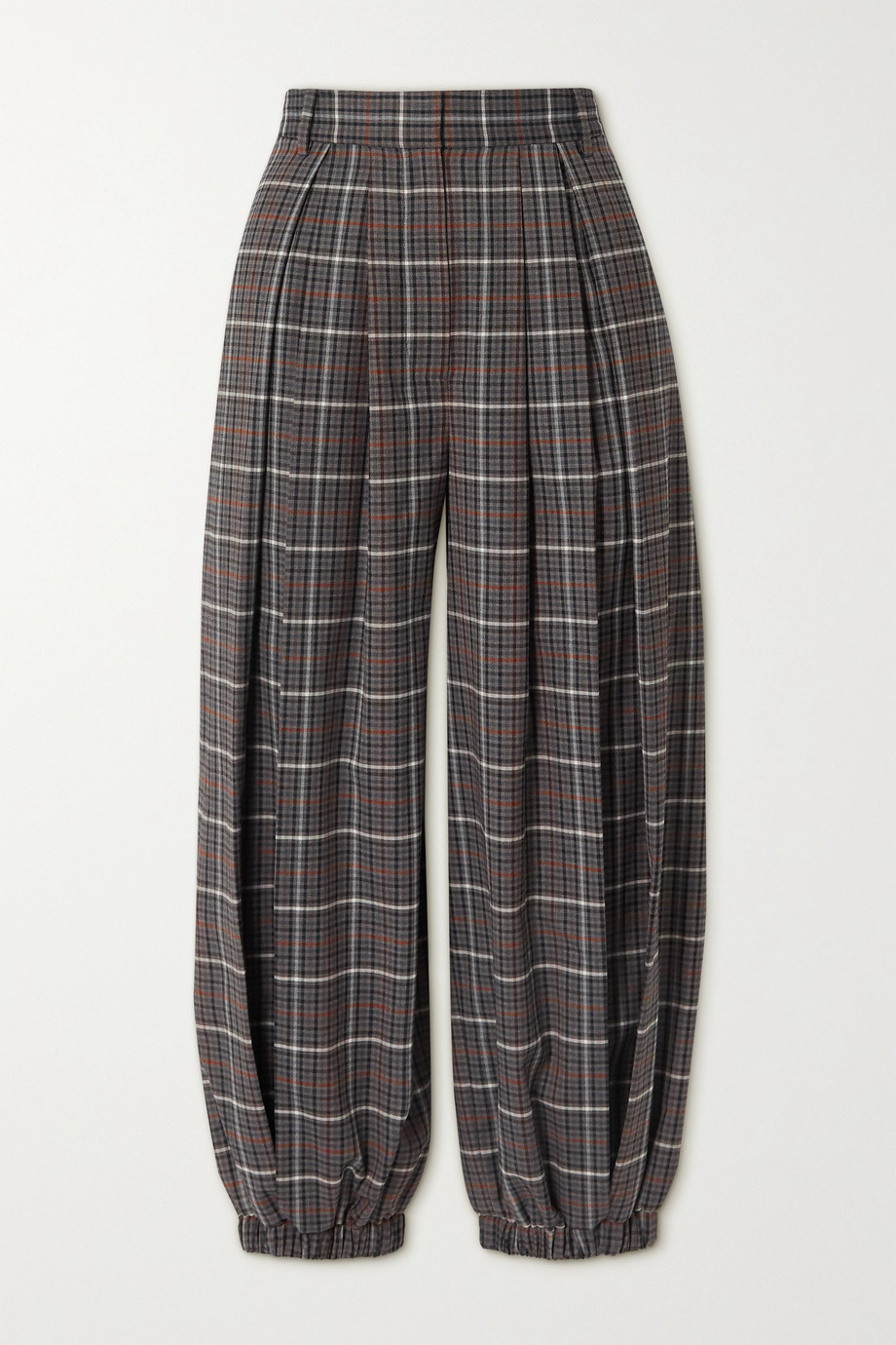 Tibi Gabe cropped pleated checked woven tapered pants