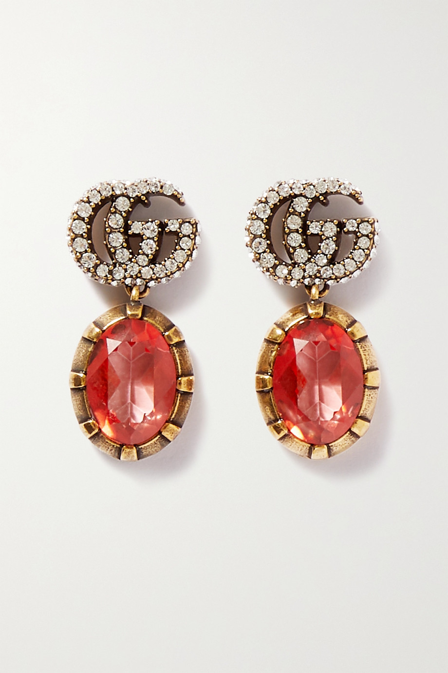 GUCCI Gold-tone crystal earrings