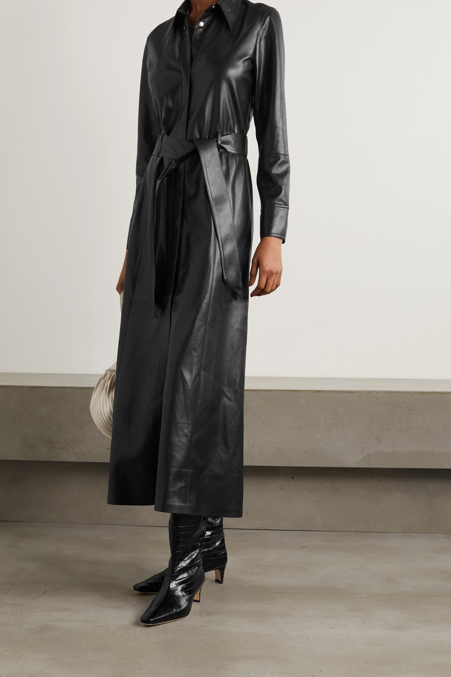 NANUSHKA Asayo belted vegan leather midi shirt dress