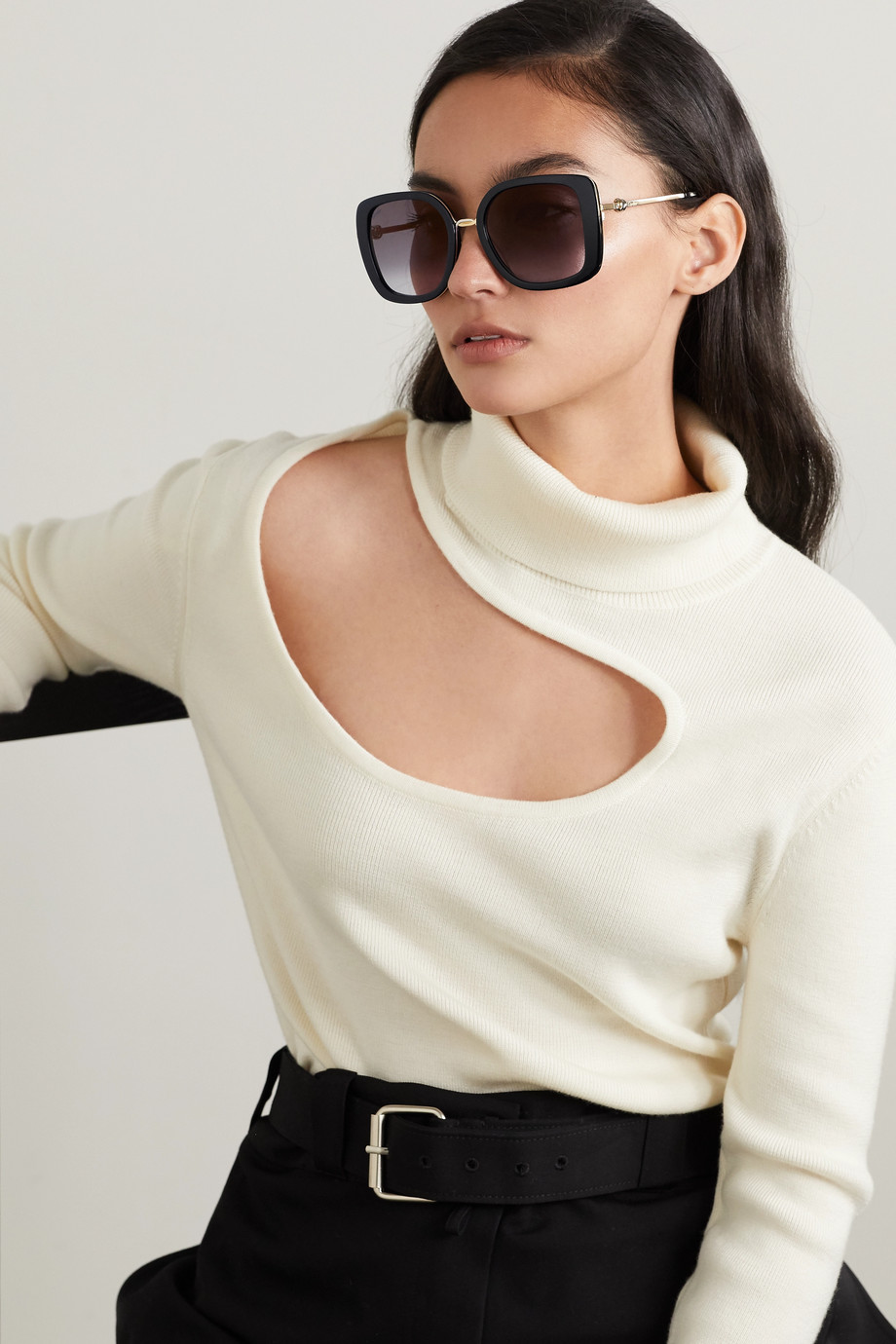 CARTIER EYEWEAR Square-frame acetate and gold-tone sunglasses
