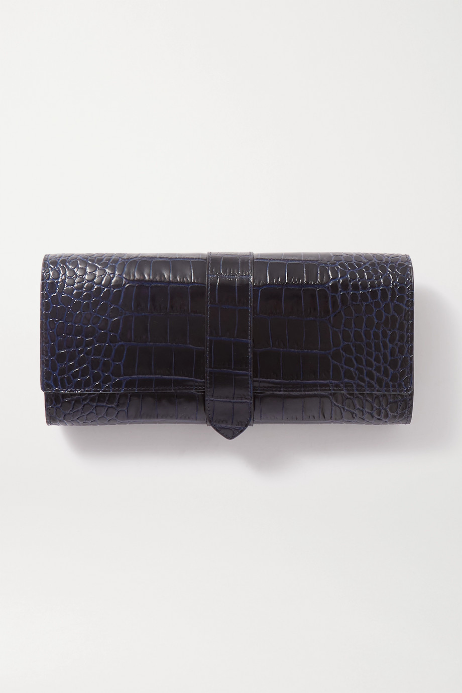 SMYTHSON Mara large croc-effect leather jewellery roll