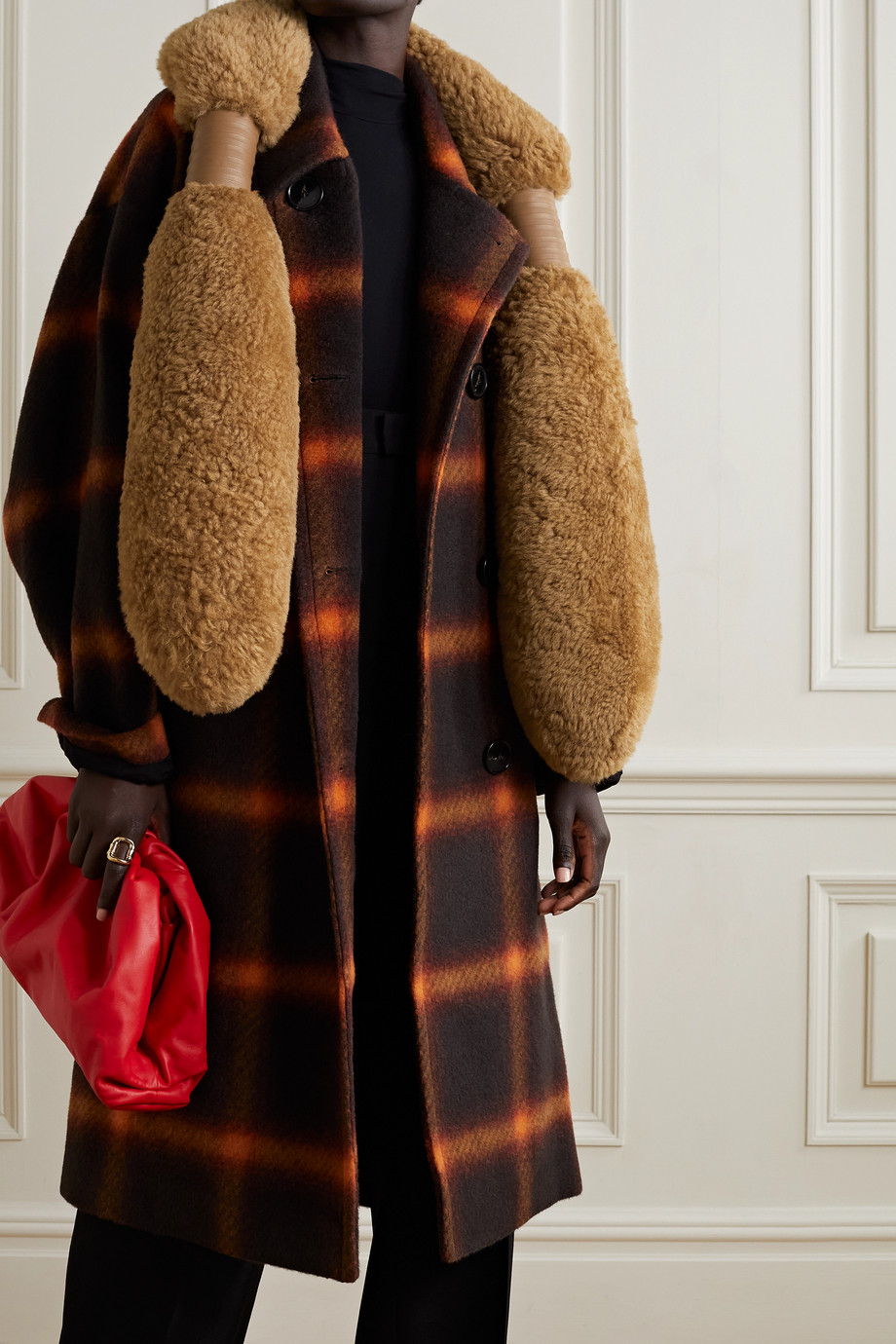 BOTTEGA VENETA Padded leather-trimmed shearling stole