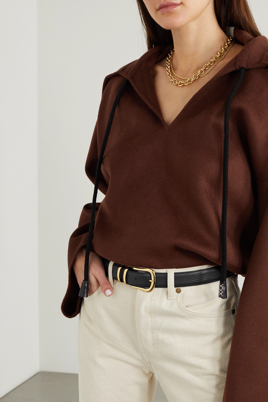 BLACK & BROWN + NET SUSTAIN Marina lizard-effect leather waist belt