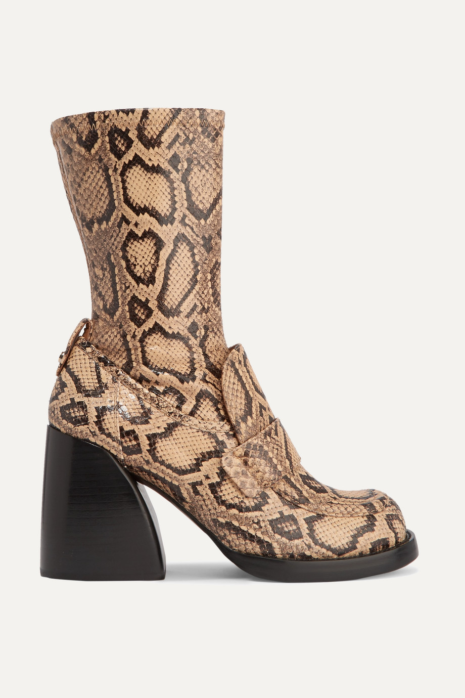 CHLOÉ Adelie python-effect leather ankle boots