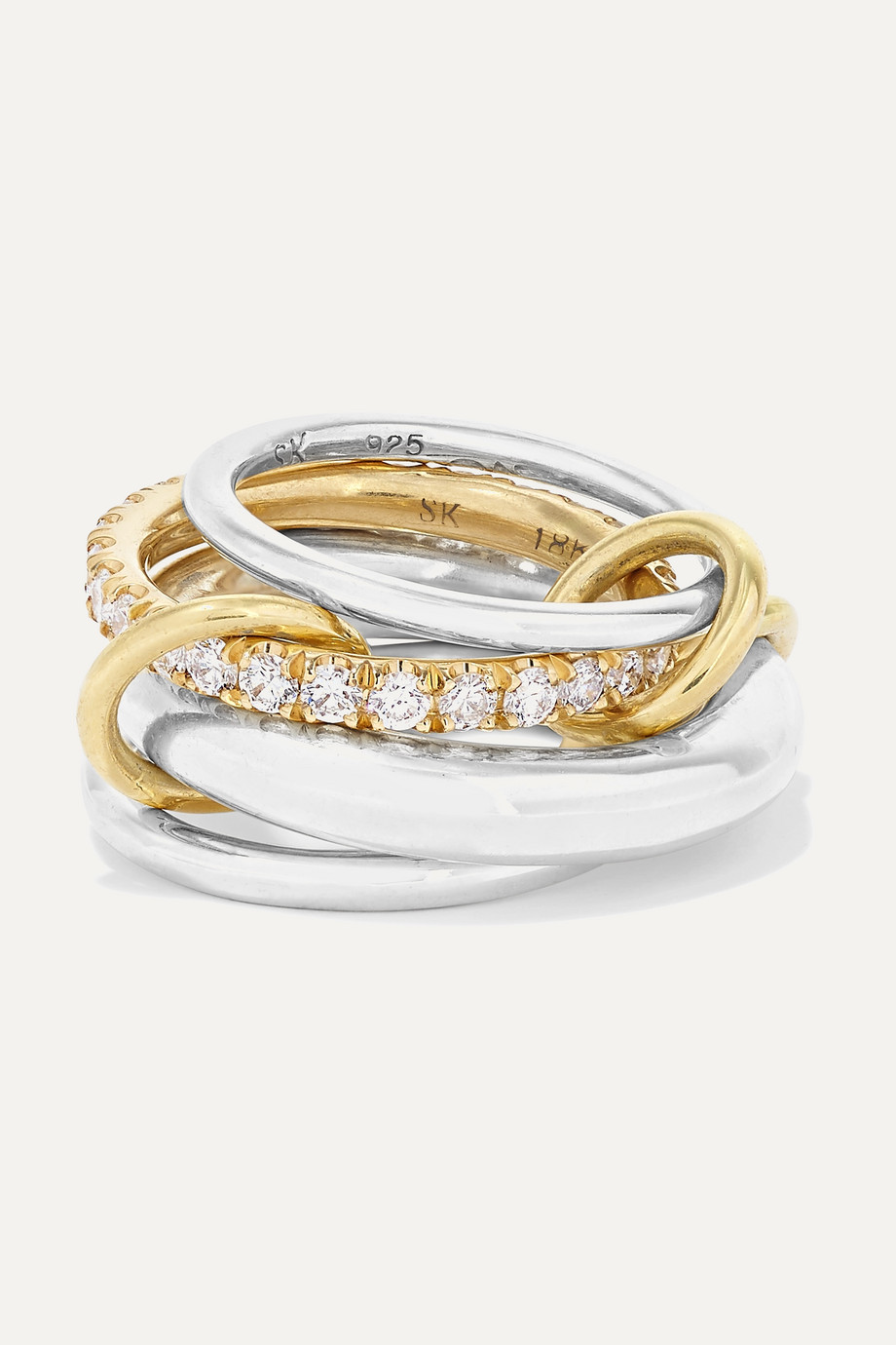 SPINELLI KILCOLLIN Set of four sterling silver, 18-karat gold and diamond rings