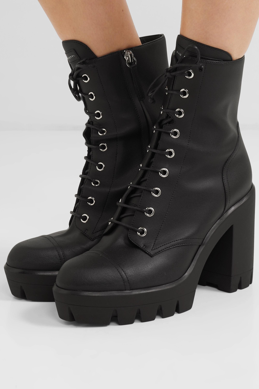 Black Leather platform ankle boots