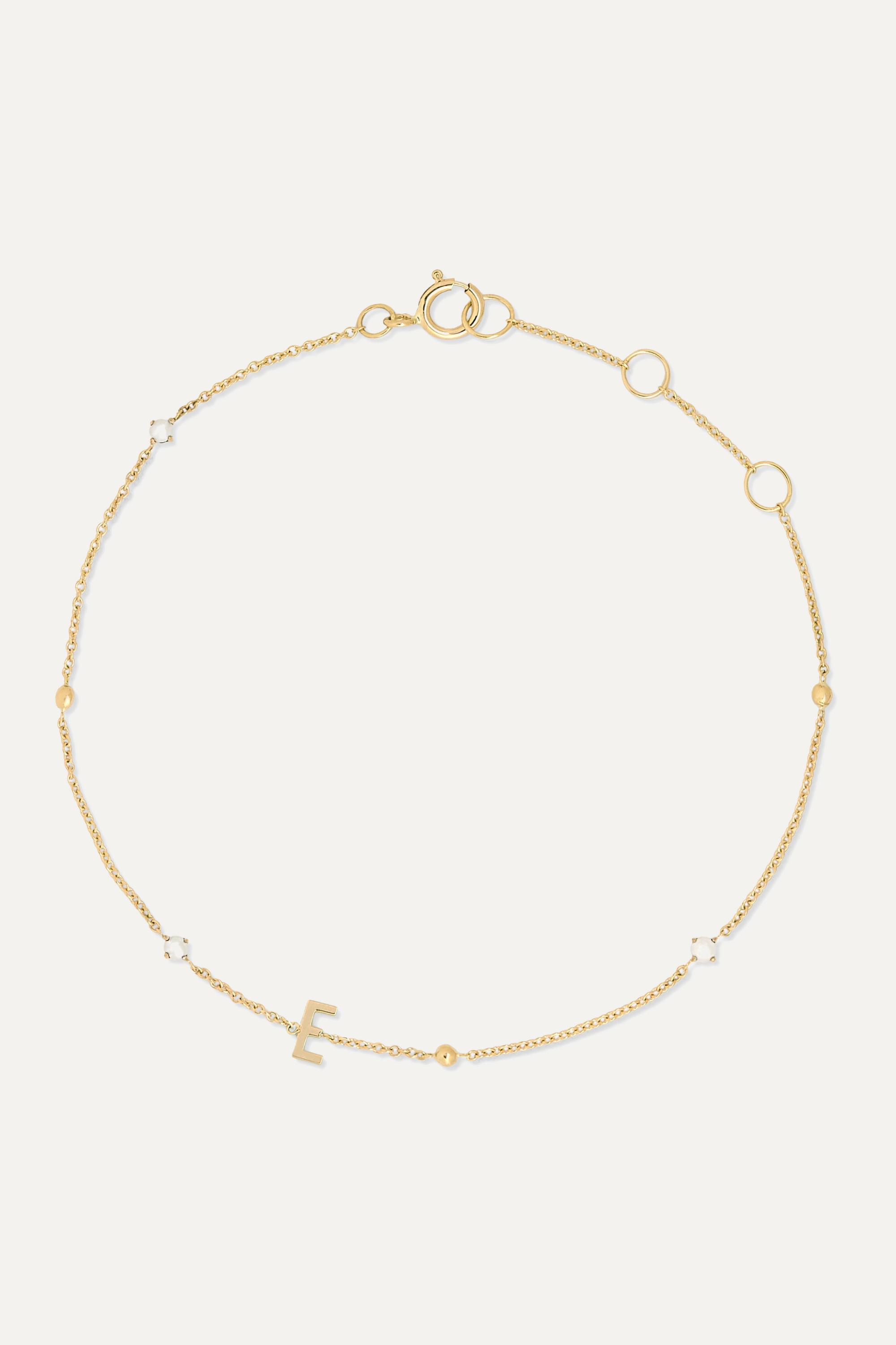 STONE AND STRAND Initial 14-karat gold pearl bracelet