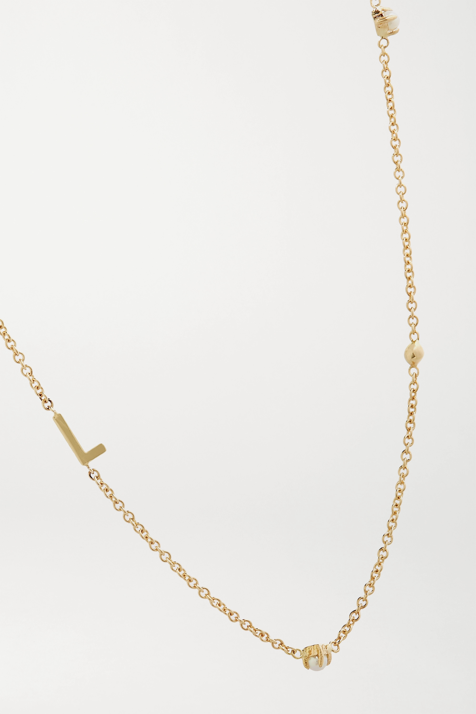 STONE AND STRAND Initial 14-karat gold pearl necklace