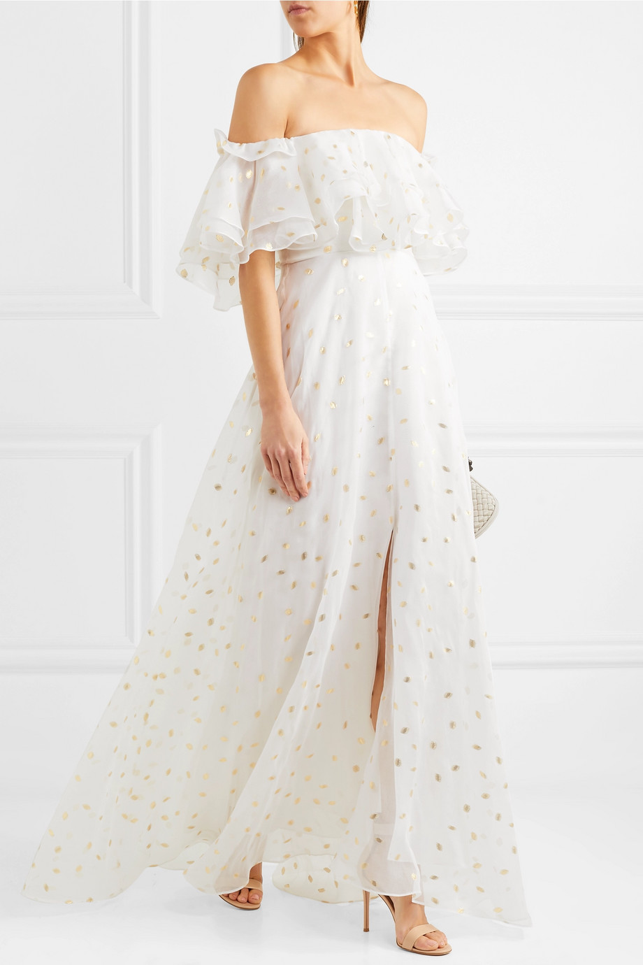 TEMPERLEY LONDON Off-the-shoulder metallic fil coupé organza gown
