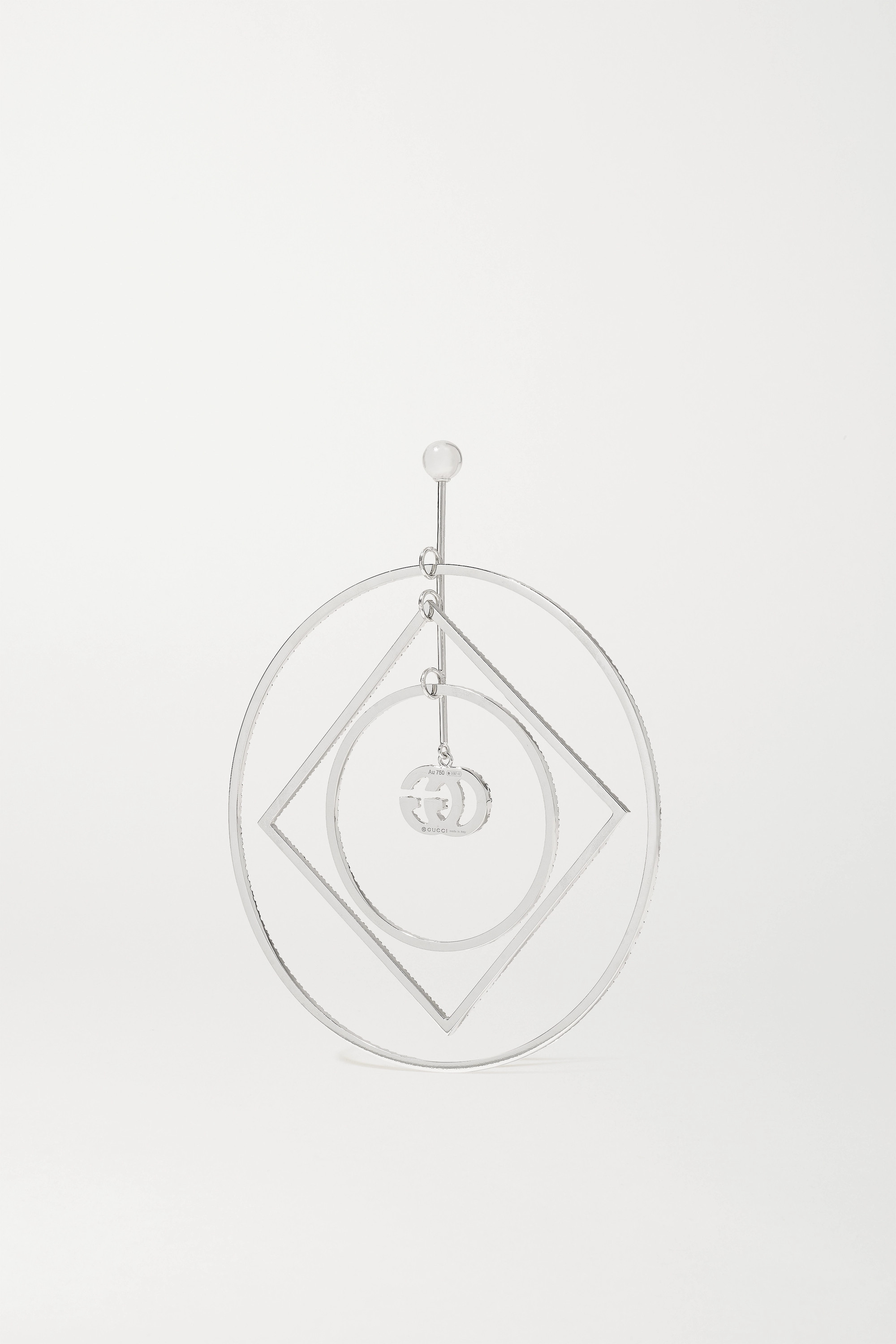 GUCCI GG Running 18-karat white gold diamond earring
