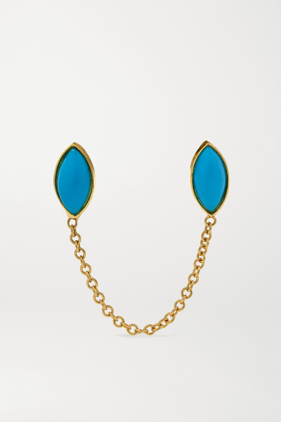 JENNIFER MEYER 18-karat gold turquoise earring