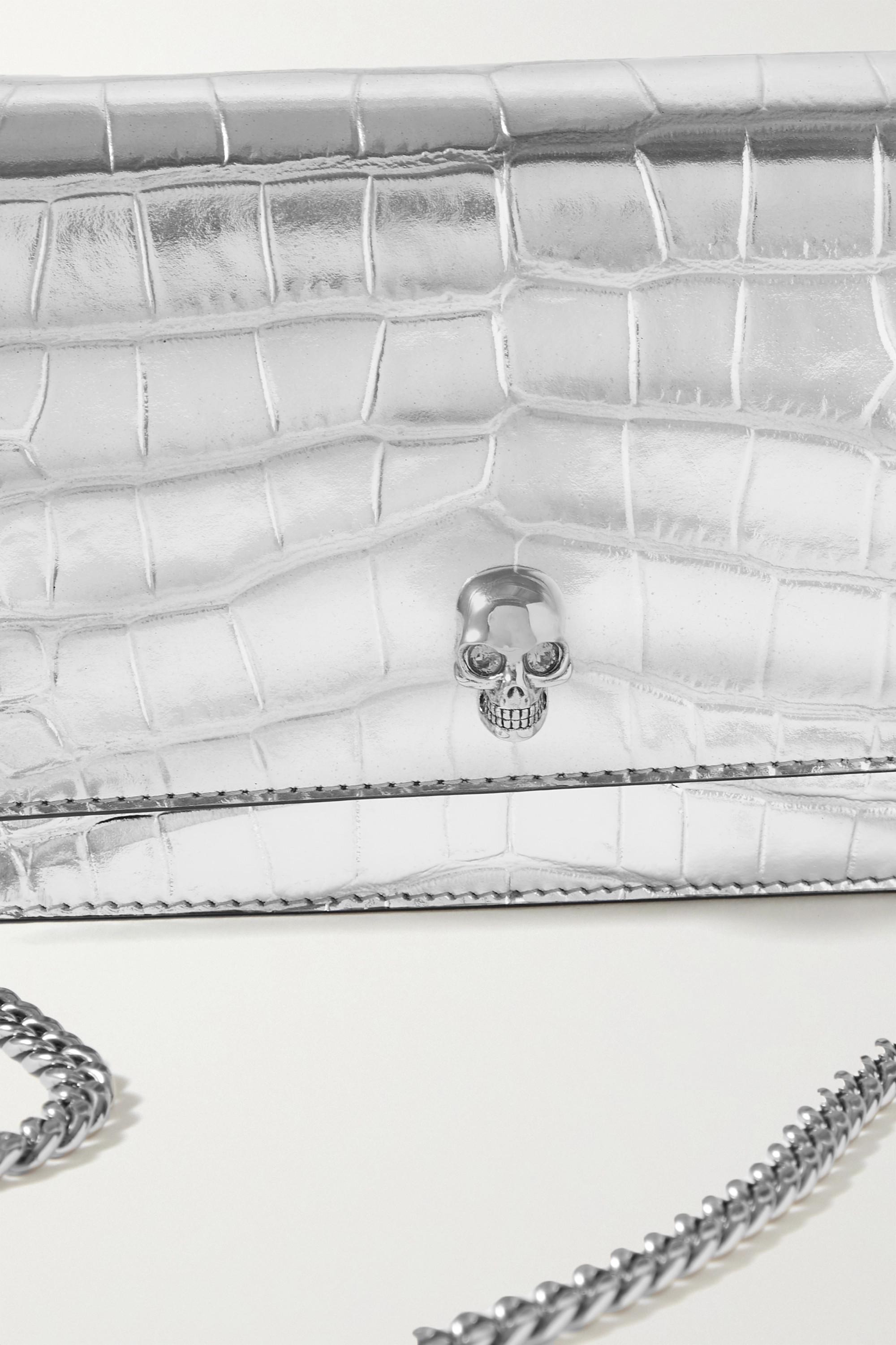 ALEXANDER MCQUEEN Skull croc-effect metallic leather shoulder bag
